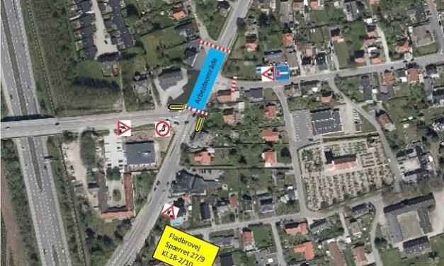 Midlertidig omlægning af trafik og busser på Fladbrovej