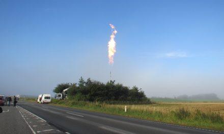 Ildsøjle på 20 meter på Munkdrupvej
