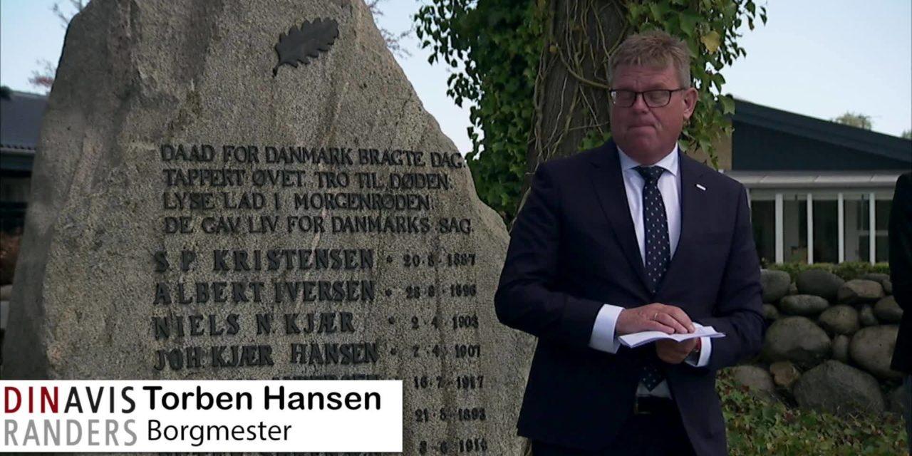 Borgmester Torben Hansen holdt tale i Hvidsten i dag